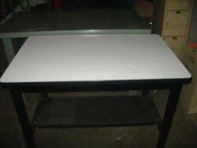 Retail White Laminate W Metal Frame Work Table