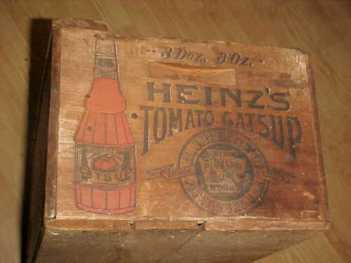 1880 HEINZ   COLOR DECORATED ORIGINAL SHIPPING BOX CRATE  -  RARE