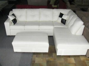 2PCS CANADIAN MADE BONDED LEATHER SECTIONAL ON SALE$1250.00