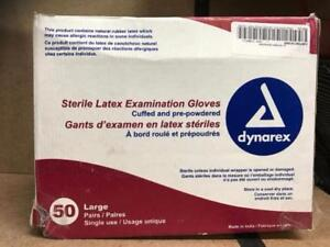 Dynarex Sterile Latex Exam Peel Open Gloves  Box of 50 Pairs (Si