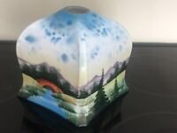 VINTAGE 1930's GLASS LAMPSHADE HAND-PAINTED