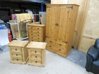 pine 6 drawer chest, double wardrobe, and 2x 3 dr bedside cabinets. excellent condition. can deliver