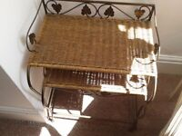 side tables .. set of 2 shabby chic heavy metal and woven wicker tables gold metal + ornate leafs
