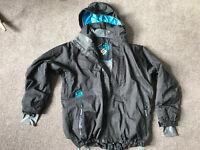 Mens Surfanic black and turquoise pin stripe Ski Jacket size L Large