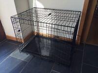 Large Black Metal 2 Door Dog Cage/Crate.