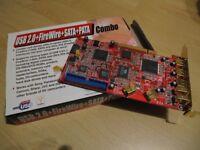 PCI Interface Card USB 2.0 + FIREWIRE + SATA + PATA combo card