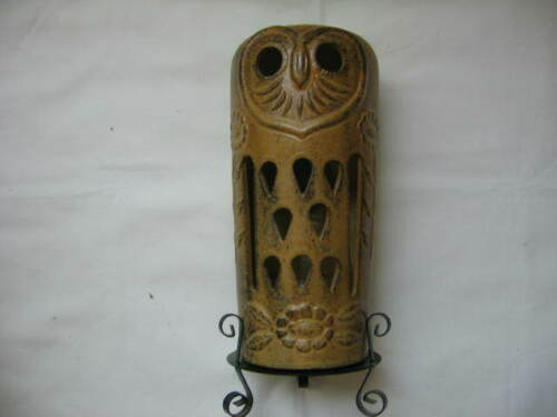 """VTG Pottery """"OWL"""" candle holder-8"""" height (without holder) Browns"""