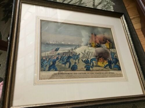 Bombardment, Capture Fort Fisher, N. Carolina, Civil War Lithograph Currier Ives