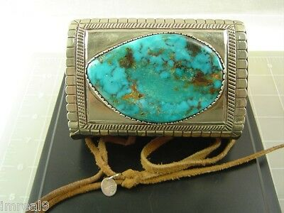 Cochiti JOE H. QUINTANA Sterling Silver Huge Turquoise Ketoh Bow Guard Bracelet