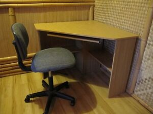(REDUCED) CORNER COMPUTER DESK WITH KEYBOARD TRAY AND CHAIR