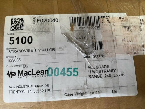 "(Case of 50) Maclean Strand Vise 5100 FOR 1/4"" GUY STRAND (NEW)"