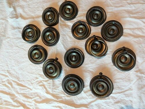 Vintage Lot Of 14 Metal Knobs Drawer Pulls Handles Cupboard Cabinet