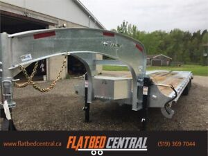 K- TRAIL GALVANIZED 30 FT TANDEM DUALLY FLATBED/HYDRAULIC BRAKES