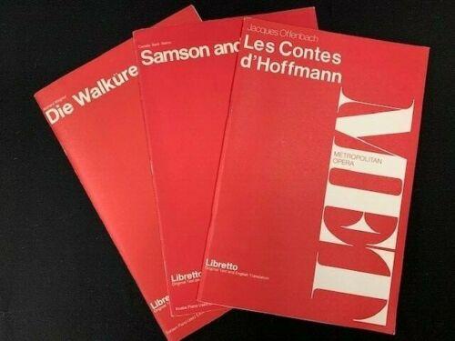 Lot Of 3 Metropolitan Opera Librettos mn1420
