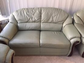 Klausner Real Leather 3 piece suite in pale green, as new
