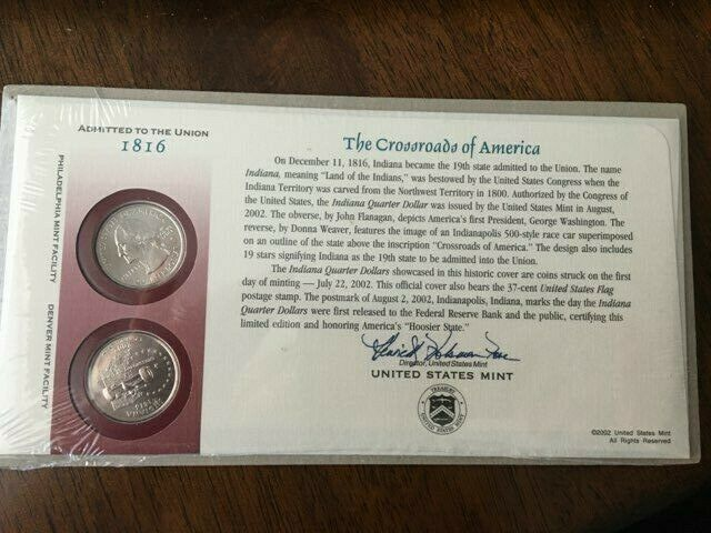 BNIP UNITED STATES MINT FIRST DAY COVER 2002 INDIANA STATE QUARTER COIN SET - $10.00