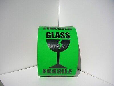 Fragile Glass Large Intl Symbol 3x4 Fluor Green Warning Sticker Label 125rl