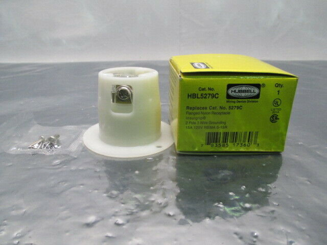 Hubbell HBL5279C Flanged Nylon Receptacle, Replaces 5279C, 100465