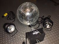 "ADJ MB-DMX, 12"" mirror Ball and 2x Eliminator E-106 Pinspots"