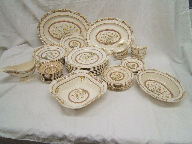 "Spode ""Buttercup"" China Service for 8 Set of 46 Pcs minus 4 cups & saucers"