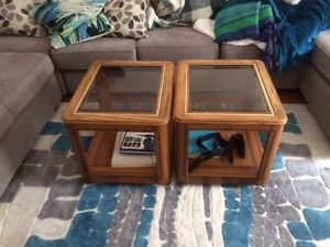Two End Tables with Glass Tops