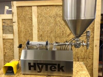 New Hytek 2 Head Semi-automatic Inline Piston Style Liquid Filler 5-100ml Pump