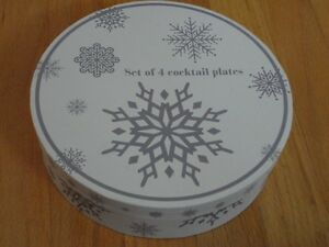 Brand new in box set of 4 snowflakes dessert plates London Ontario image 1