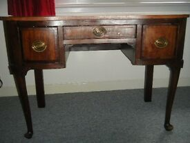 Wooden antique, vintage desk with three drawers