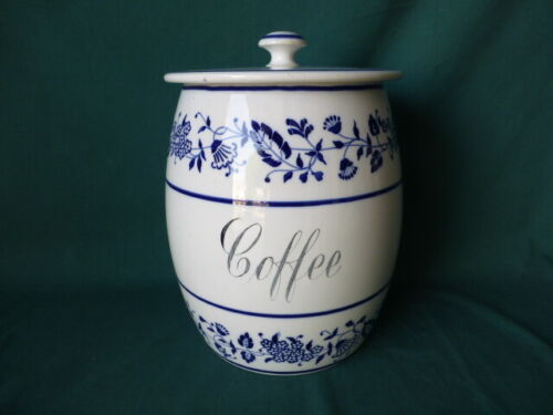 Very Large Antique Blue & White Porcelain Coffee Canister Germany
