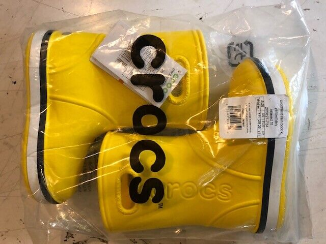 Crocs Kids Crocband Rain Boot Yellow/Navy Croslite Child Wel