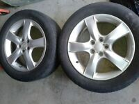FOR SALE TWO ALUMINUM RIMS R16 SUBARU WITH SPARE TIRE-TIRES FREE