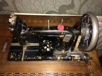 Vintage Treddle Sewing Machine & Cover