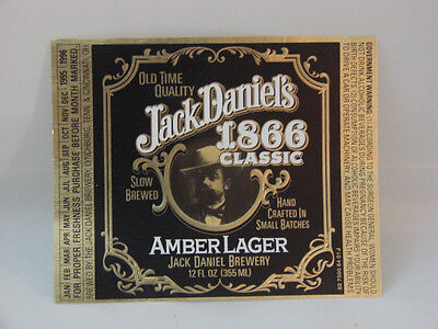 RARE UNUSED JACK DANIELS 1866 CLASSIC AMBER LAGER BOTTLE LABEL