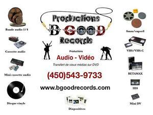 Productions audio vidéo et transfert de vieux médias sur DVD