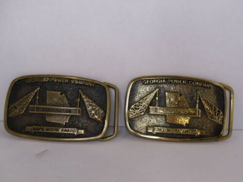 Georgia Power Company 1981 Safe Work Award Vintage Brass Belt Buckle GA