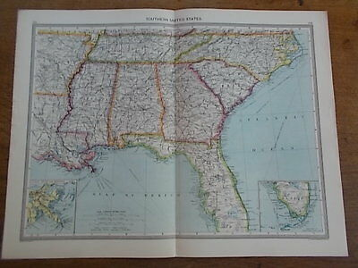 Antique c1904 colour map SOUTHERN UNITED STATES AMERICA US USA HARMSWORTH ATLAS