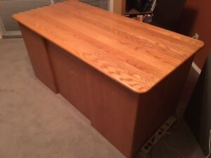 Oak Desk and Matching Credenza - $500