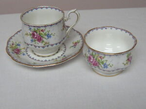 PETITE POINT Cup and Saucer and Sugar Bowl.
