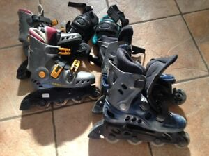 Patins a roulettes/Roller skates in/ knee pads/genouilleres