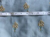 PAIR OF LINED BLUE/GREY CURTAINS WITH EMBROIDERED FLOWER SPRIGS, EXTRA WIDE AND LONG