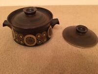 Large Casserole Dish Lidded Pot with Extra Lid Denby Arabesque China Crockery Discontinued Vintage