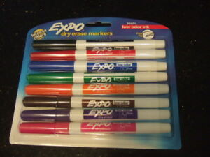 new pack of 8 Expo Low-Odor Dry-Erase Fine Tip Markers,8568