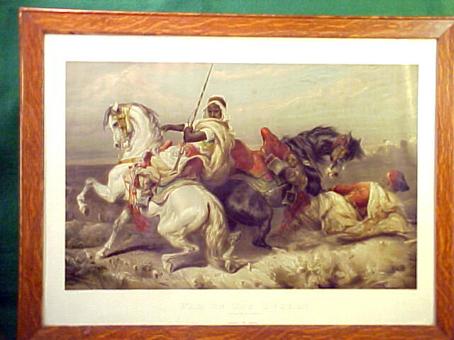 "RARE CHROMOLITHOGRAPH ""WAR IN THE DESERT"" BY WILSON & McCALLAY TOBACCO CO 1891"
