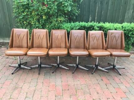 Rare Vintage Retro Kendall Furniture 6 Swivel Chairs !