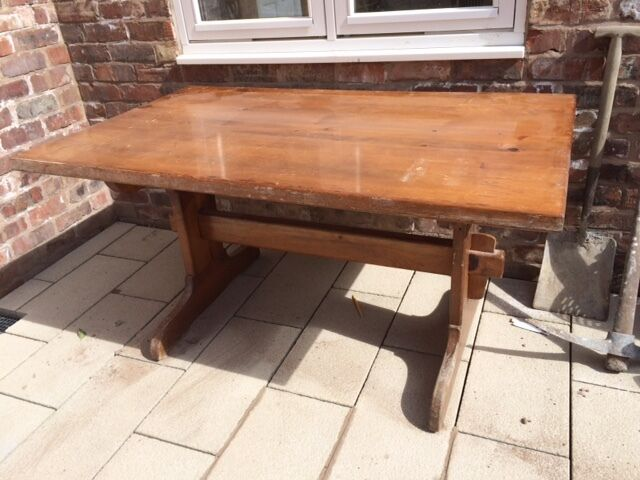 Lovely Large Hard Wood Table With 4 Matching Chairs And Glass Sheet To Protect  Top