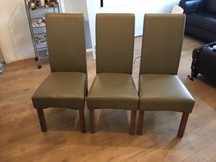 3 Olive Leather Dinning Chairs