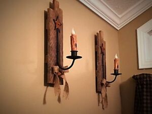 Authentic Amish Wood Tobacco Lath Candle Sconces   Primitive Home Decor