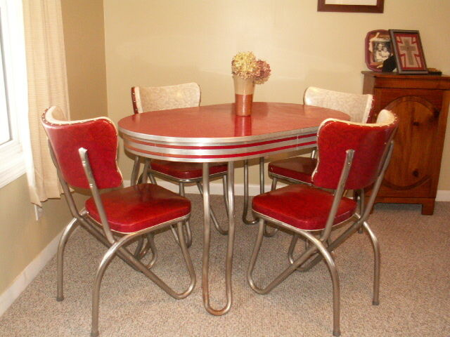 Retro Kitchen Table and Chair Set Dinette Dining Vintage Chrome Formica & Retro Kitchen Table and Chair Set Dinette Dining Vintage Chrome ...