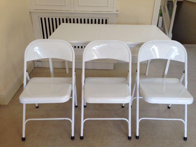3x HABITAT MACADAM White Metal Folding Chairs