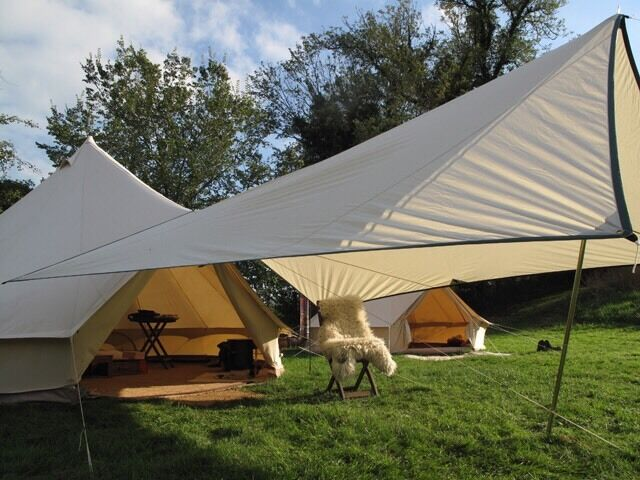 Brand New - 5m Bell Tent + Full Coir Carpet + Canvas Awning (Cost £ & Brand New - 5m Bell Tent + Full Coir Carpet + Canvas Awning (Cost ...